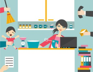Busy multitask woman, mother managing her work.